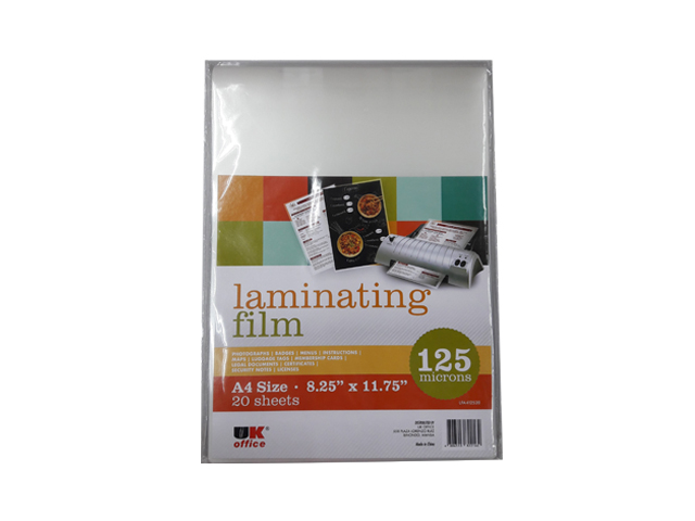 UK Office Laminating Film A4 12520LF 125 Micron A4 20/pack