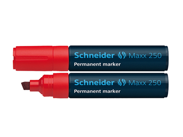 Schneider Permanent Marker  250 Chisel/Red 2-7mm