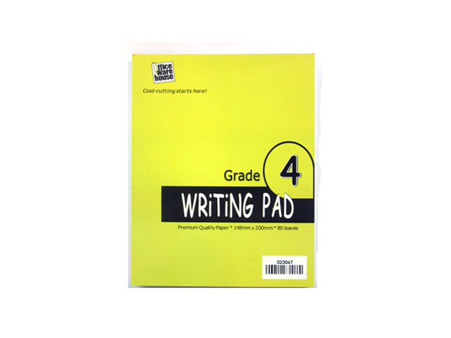 Office Warehouse Grade 4 Pad Paper w/Plastic 2/pack 80/Leaves