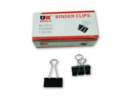 UK Office Binder Clip 12/Box Black 1-1/4 in.