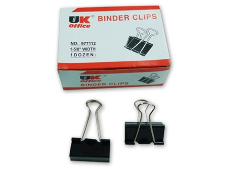 UK Office Binder Clip  12/Box Black 1-5/8