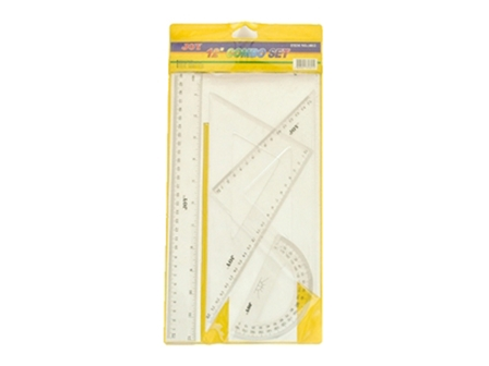 Joy Ruler Combo Math Set 4012 4pcs Clear 12