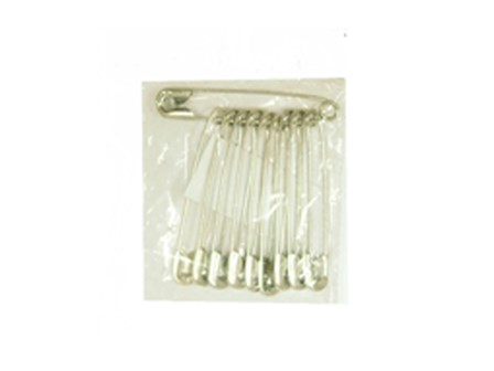 Safety Pin Large Silver 10 per pack