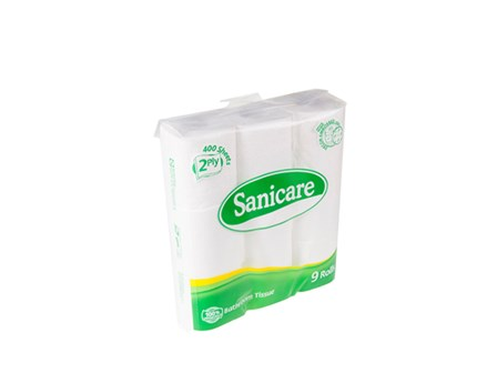 Sanicare Tissue Toilet Paper 2 ply 9/pack