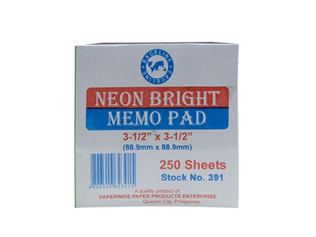 Exceline Memo Pad #391 Neon Bright Assorted 3.5 x 3.5