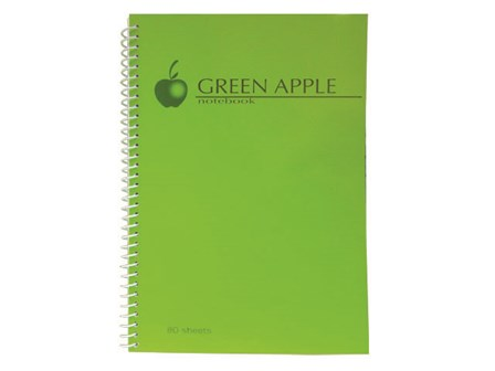 Green Apple  Notebook Spiral G0780 80 Leaves 178 x 254m