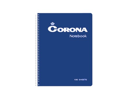Corona Notebook Spiral C-7100 100 Leaves 178 x 254m