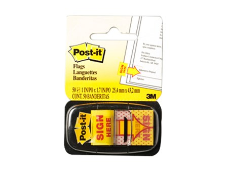 3M Post-it Flag  680 Sign Here Yellow  25 x43mm