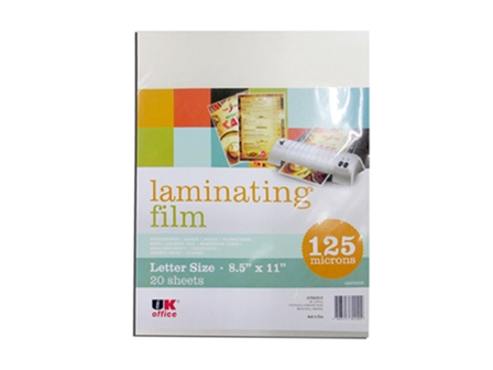 UK OffIce Laminating Film Letter 12520LF 125 Micron Letter 20/pack