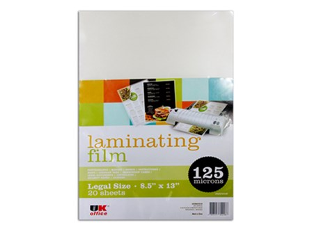 UK Office Laminating Film Legal12520LF 125 Micron Legal 20/pack
