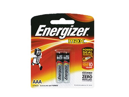 Energizer Battery E92/BP2 AAA 2 pcs per pack.