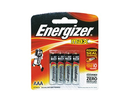 Energizer Battery LR03 E92/BP4 AAA 4 pcs per pack