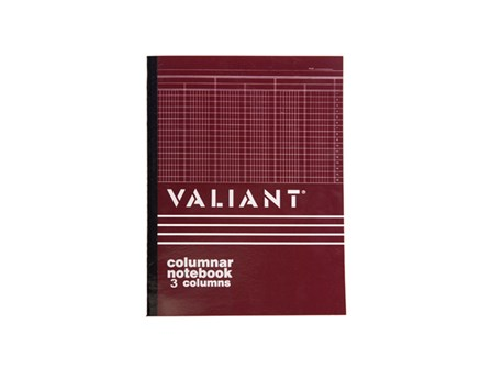 Valiant Columnar Book  3 Column 50 Leaves 8.5x14
