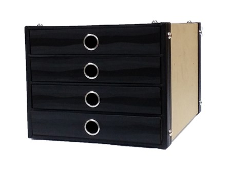 Storage Box Multi-Tray Kraft 4 Drawer Kraft/Black