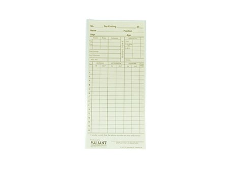 Valiant Time Card US Tag Board Cream 100pcs per pack