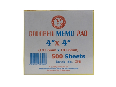 Exceline Memo Pad #390 Colored 500's Assorted 4 x 4