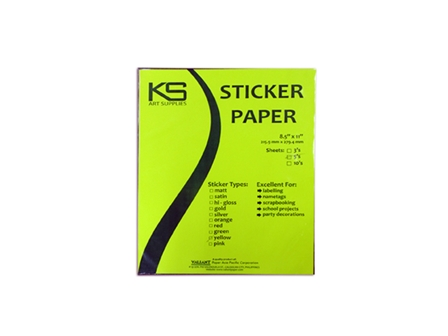 KS Sticker Paper Flourescent Yellow LTR 5pcs/pack