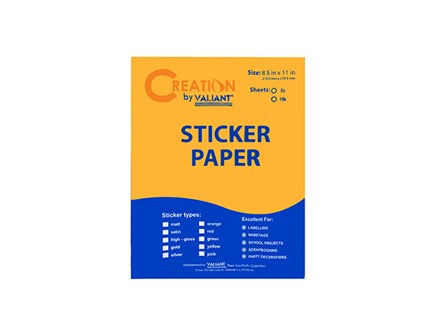 KS Sticker Paper Flourescent Orange LTR 5pcs/pack