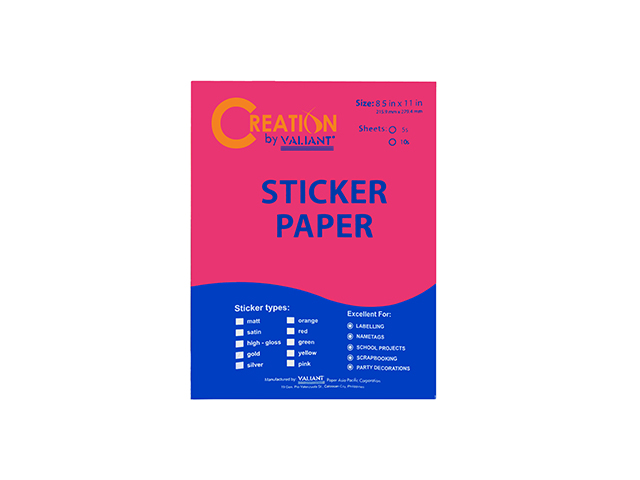 Sticker Paper Flourescent Pink LTR 5pcs/pack