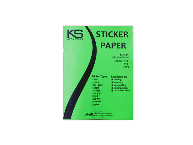Sticker Paper Flourescent Green LTR 5pcs/pack