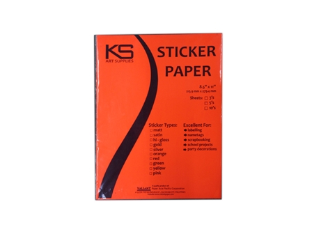 KS Sticker Paper Flourescent Red LTR 5pcs/pack
