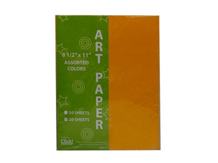 Click-Assorted Color Art Paper 20's Letter