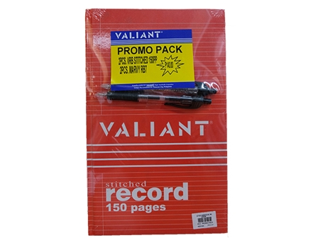 Valiant Record Book Stitched Promo Pack 2'S W/2GPens RED150P