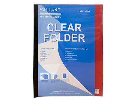 VALIANT FOLDER SLIDE CLEAR RED LGL