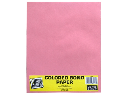 Office Warehouse Colored Bond Paper Ltr 20s Pink