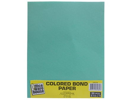 Office Warehouse Colored Bond Paper Ltr 20s Green